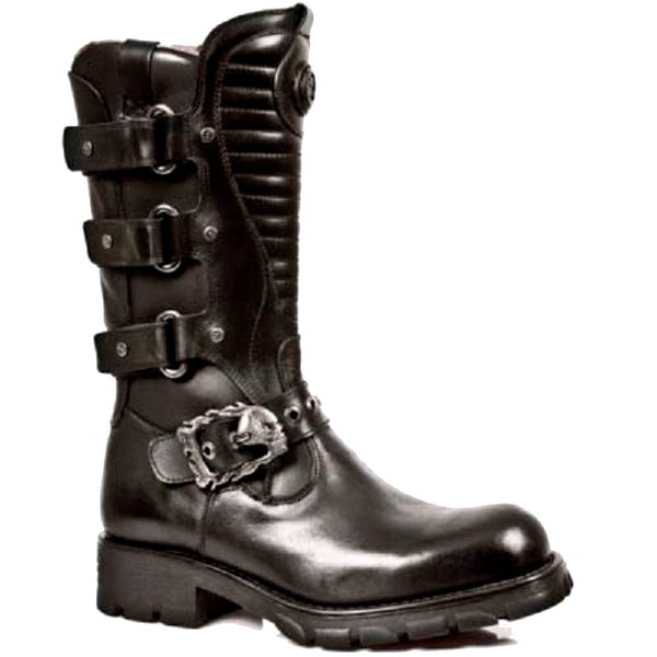 M.7604 S1 New Rock Black Leather Boots with Straps and a Skull Buckle Strap and Ribbed Tounge