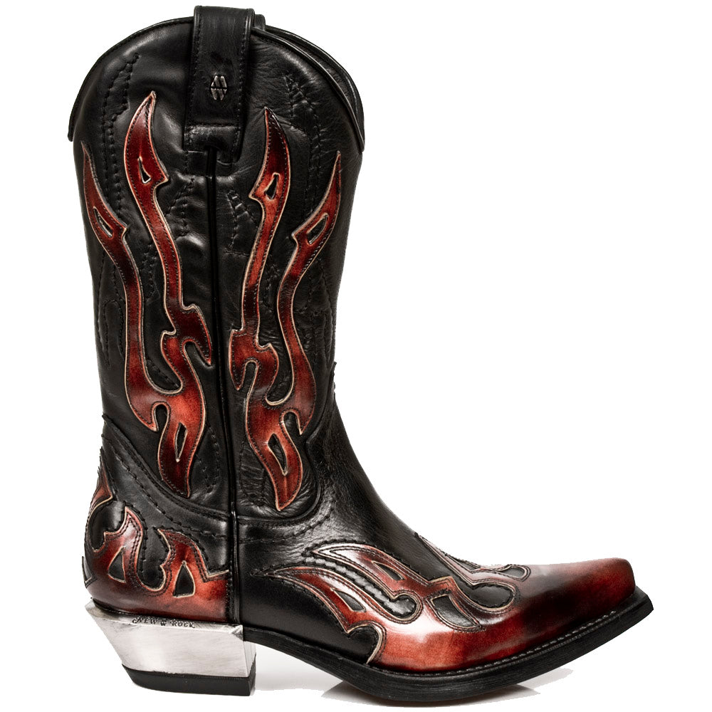 M.7921-S2 Black New Rock Boots with red Flame-Decorations, Zipper and Block-Heel in Metal-Look from the New Rock West Collection.