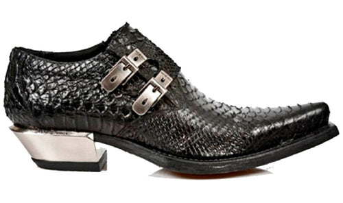 M.7934-S2 - New Rock Black Crocodile Skin Formal/Smart Cuban Style Silver Heel Shoe with Side Buckles