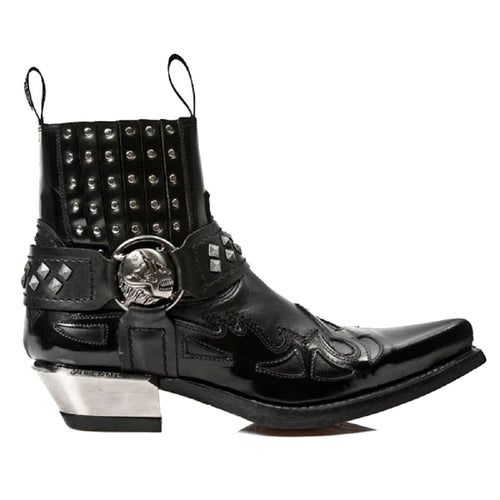 M.7950-S1 New Rock Black Coyboy Western Gothic Ankle Boots with Skull Straps and Metal Studding