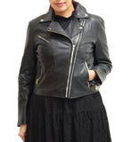 Womens Real Leather Lightweight Summer Double Zip Brando Style Biker Jacket with Elegant Back Panel Stitching