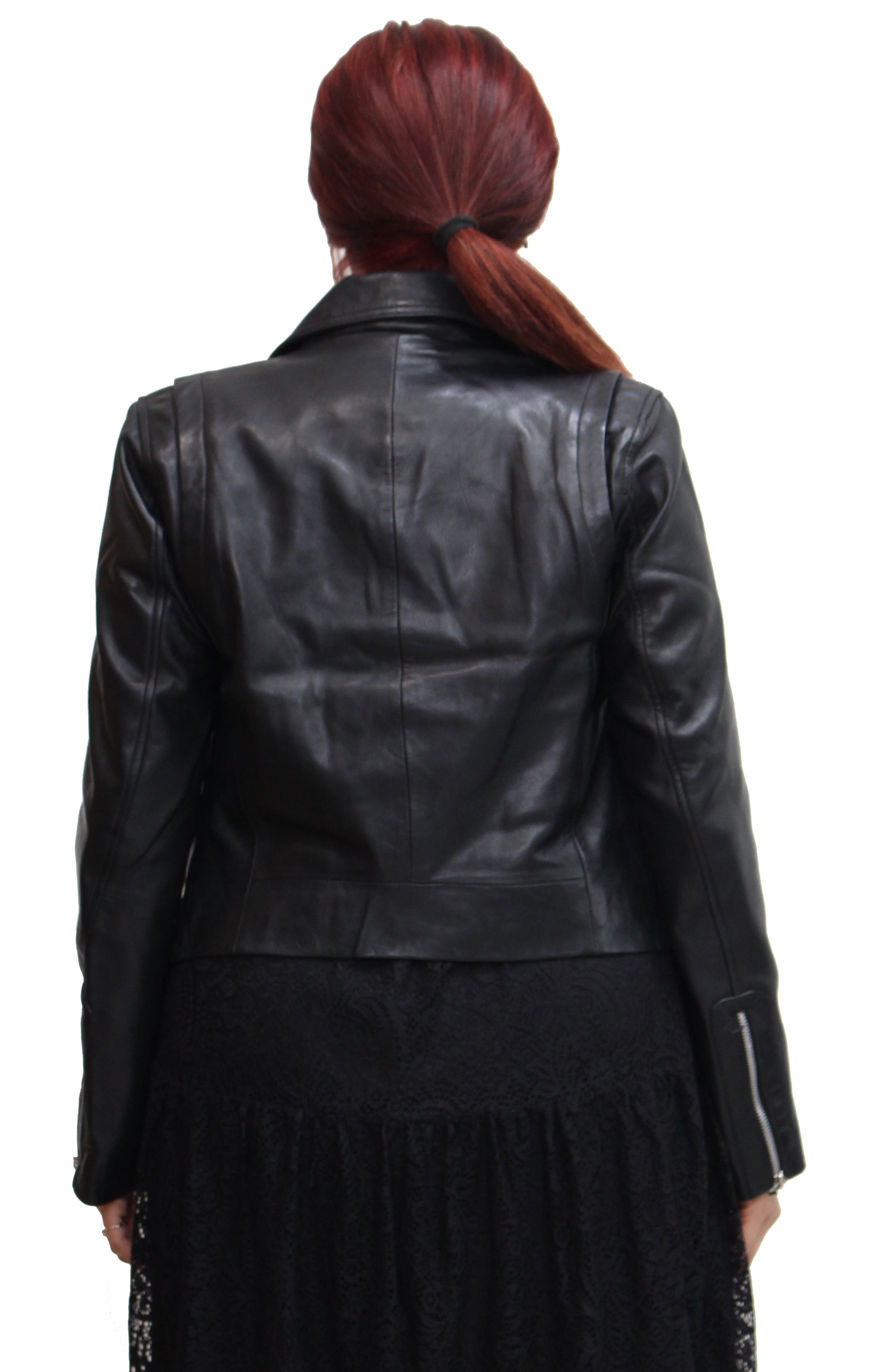 Womens Lightweight Real Leather Brando Style Cross Zip Biker Jacket. Available in Black, Red and Brown