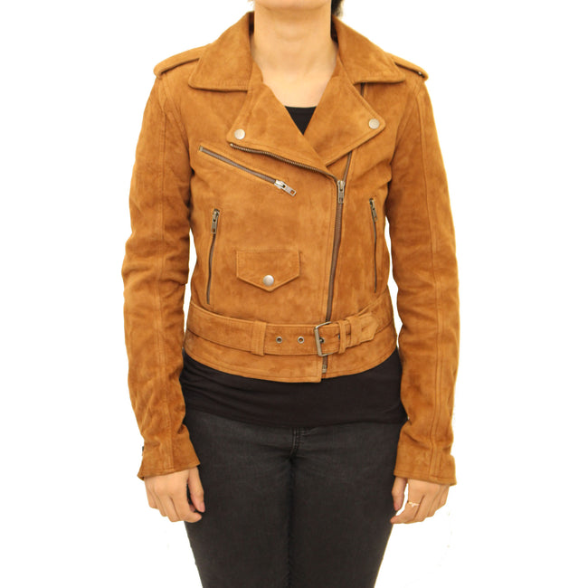 Womens real leather Brando style leather jacket. Available in Cowhide, Soft Nappa Leather and Suede Leather
