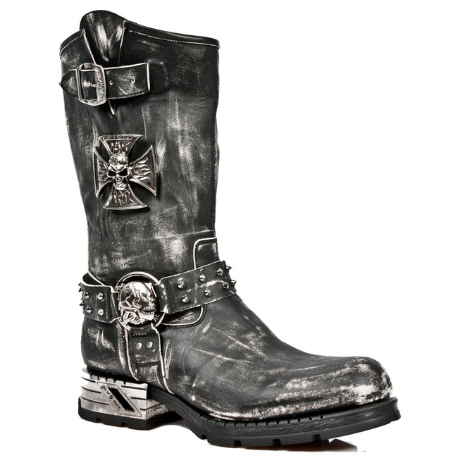 M.MR030-S2 - New Rock Vintage Ripped Black Motorcycle Black Calf Length Boots Skull and Buckle Boots