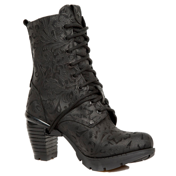 M.TR001X-S2 Black New Rock Boots in Vintage-Design with Lacing and black high Block-Heel from the New Rock Trail Collection.