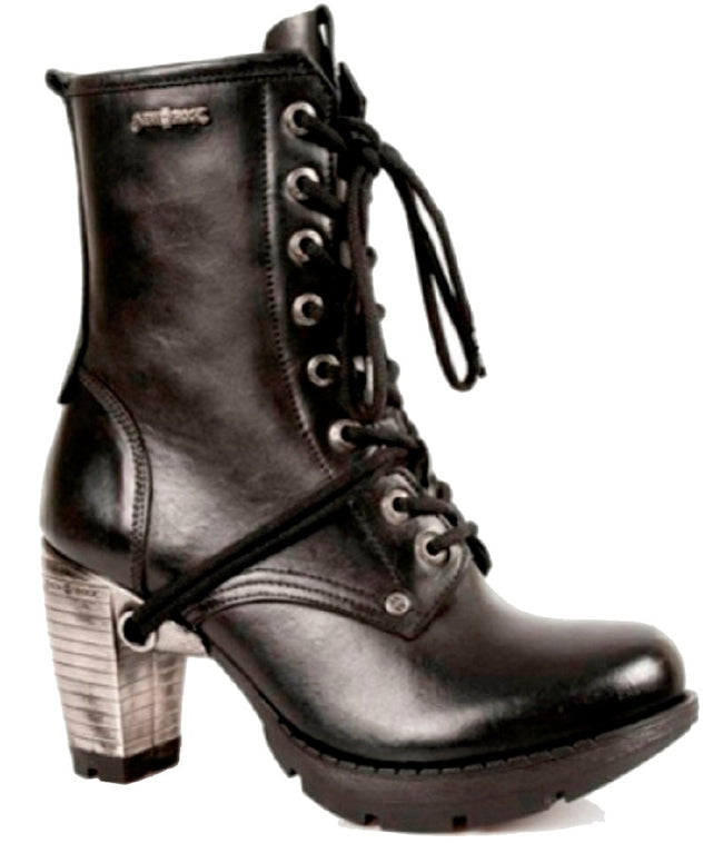 M.TR001-S1 New Rock Ladies Gothic Black Military Boots with Silver Heel