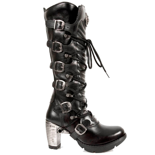 M.TR004-S1 New Rock Ladies Trail Knee Black Leather Buckle Lace Knee High Zip Boots with Steel High Heel