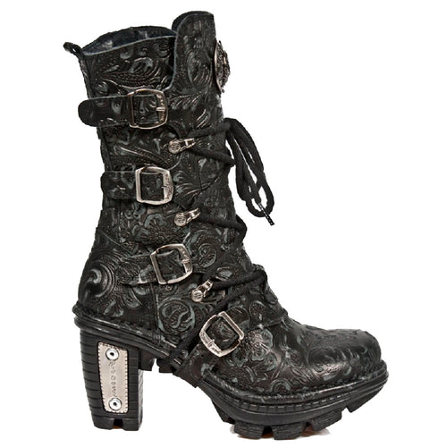 M_NEOTR005-S25 - New Rock Vintage Floral Black Gothic Rock Punk Ladies Buckle and Lace up Leather Boots