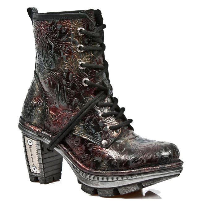M_NEOTR008-S13 - New Rock Women's Neotrail Multicoloured Vintage Floral Patterned Leather Boots