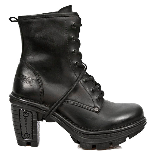 M_NEOTR008-S18 - New Rock Ladies Neotrail Black Smart Gothic Rock Punk LeatherLace Up Boots