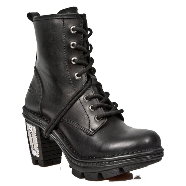M_NEOTR008-S1 - New Rock Ladies Neotrail Black Smart Gothic Rock Punk LeatherLace Up Boots