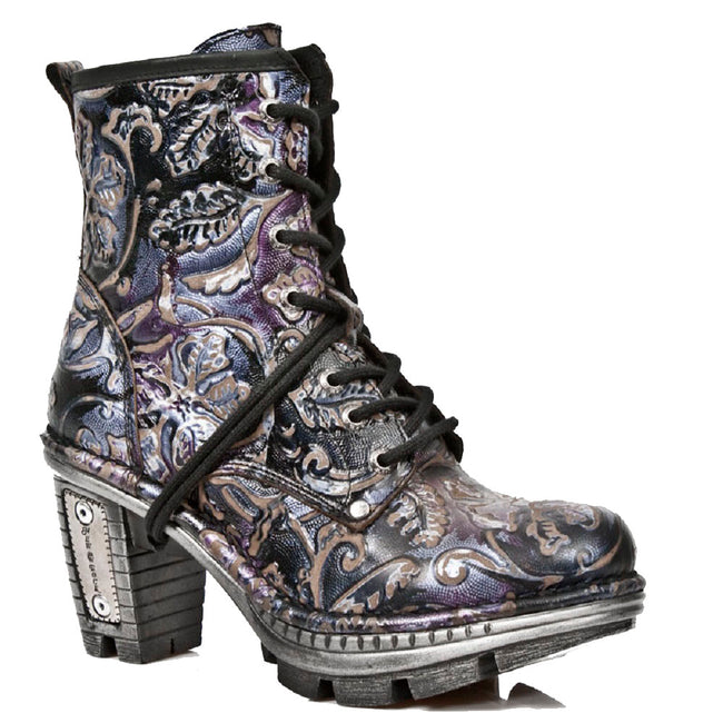 M_NEOTR008-S4 - New Rock Neotrail Vintage Floral Patterned Black and Purple Gothic Rock Ladies Boots