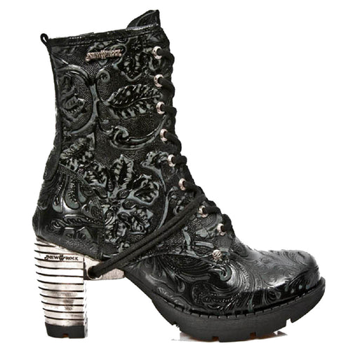 M_TR001-S24 - New Rock Ladies Vintage Floral Black Steel Heel Ankle Gothic Boots