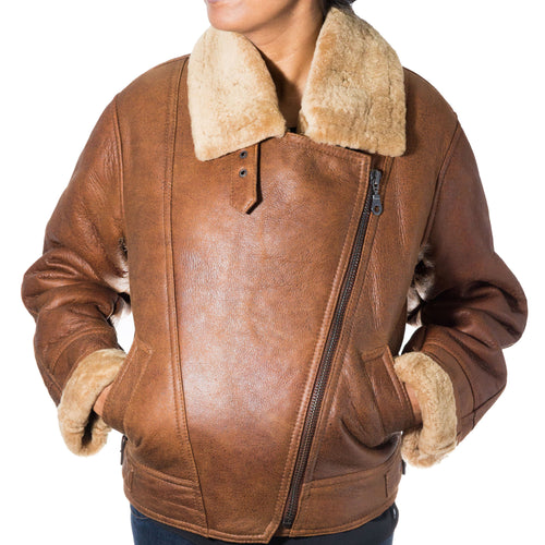 Womens camel brown sheepskin aviator bomber jacket. Camel Brown Sheepskin Leather Bomber Jacket