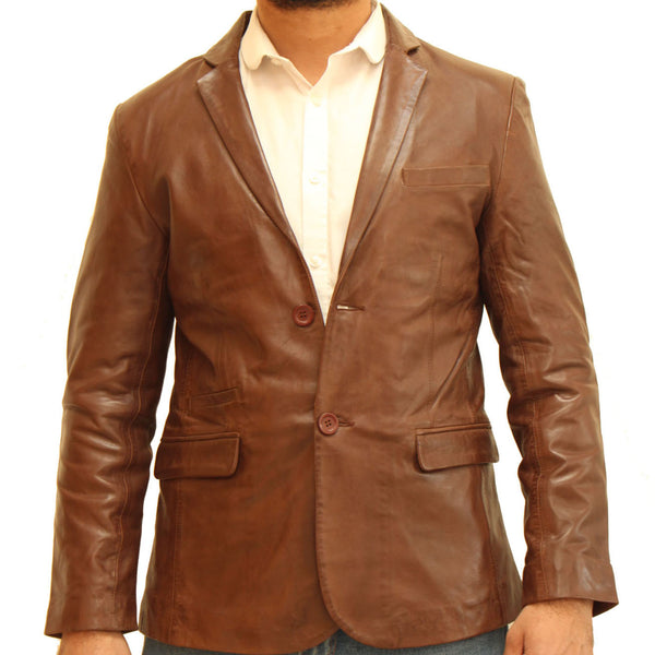 Men's real leather two button fitted blazer with back vent