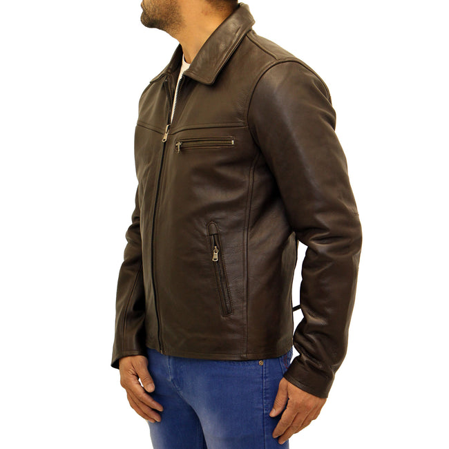 Mens cowhide leather classic retro bomber jacket. Available in Dark Brown and Vintage Brown