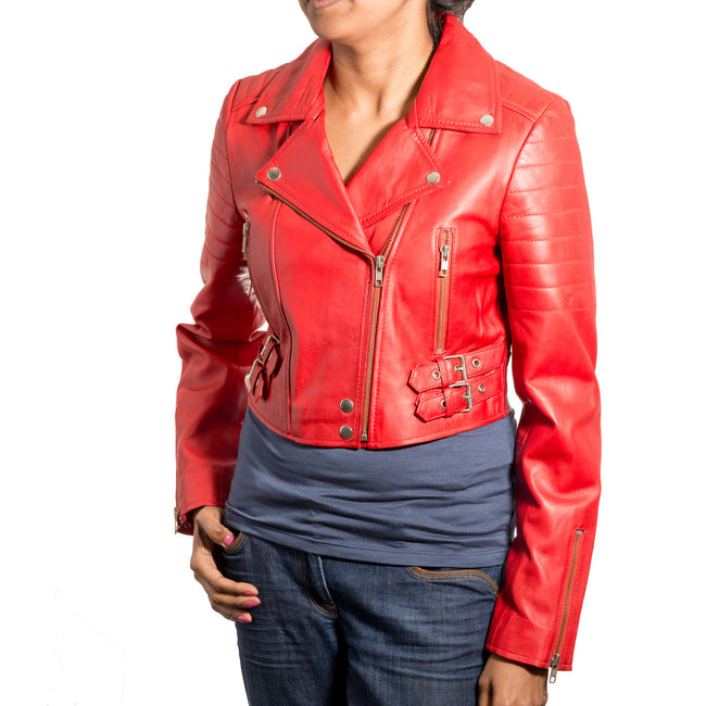 Womens soft leather Brando style Rock Chick short biker jacket. Available in Black and Red