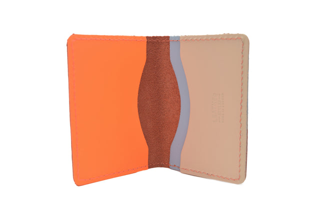 Neon Orange Unisex Handmade Oyster Travel Card Holder Wallet ID in Leather, Cowhide, Nubuck and Suede