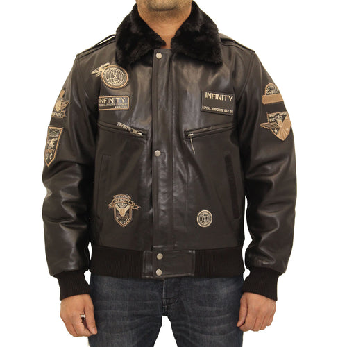 Mens bomber A2 badges style pilot leather jacket with detachable collar. Available in Black and Dark Brown.