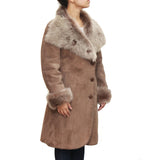 Womens sheepskin three-quarter length button up coat with large collar available in Beige and Brown