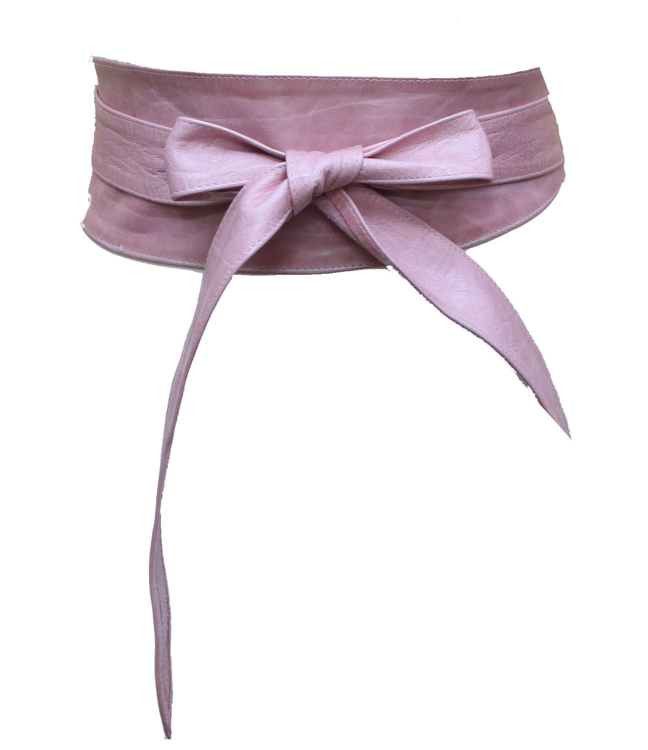 Baby Pink Real leather and Suede handmade Wrap Wide Obi Dress Belts