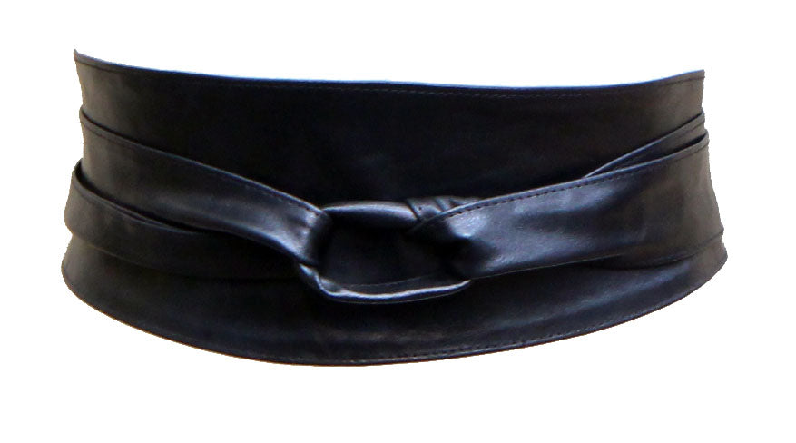 Black Real leather and Suede handmade Wrap Wide Obi Dress Belts