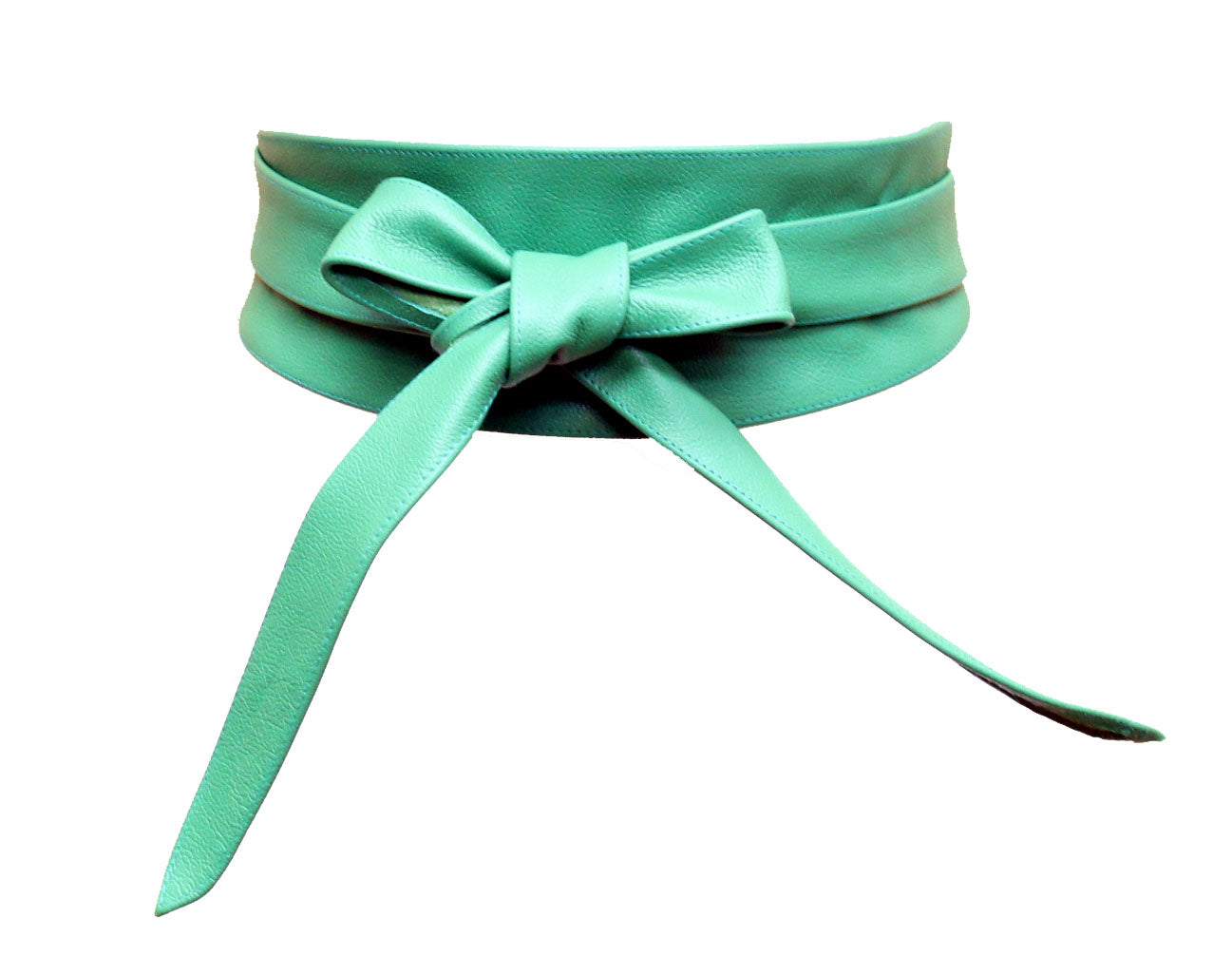 Ever Green Real leather and Suede handmade Wrap Wide Obi Dress Belts