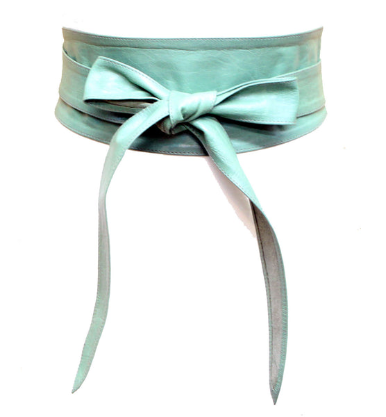 Mint Green Real leather and Suede handmade Wrap Wide Obi Dress Belts