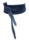 Navy Suede Real leather and Suede handmade Wrap Wide Obi Dress Belts