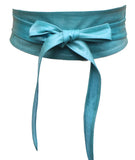 Teal Real leather and Suede handmade Wrap Wide Obi Dress Belts