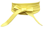 Yellow Real leather and Suede handmade Wrap Wide Obi Dress Belts