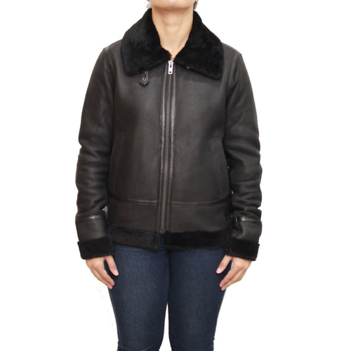 Womens classic B3 Aviator / Airforce sheepskin leather winter jacket with collar buckle