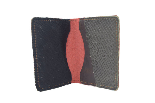 Orange Snake Unisex Handmade Oyster Travel Card Holder Wallet ID in Leather, Cowhide, Nubuck and Suede