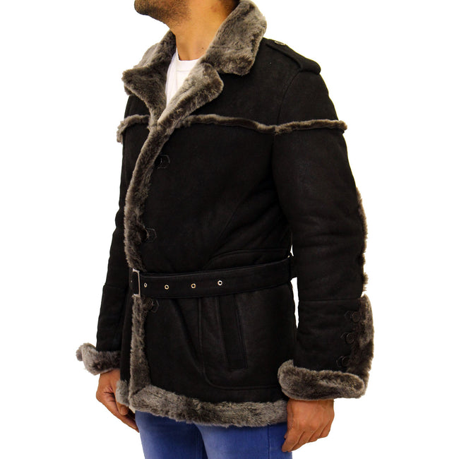 Mens black with grey merino sheepskin belted winter coat.