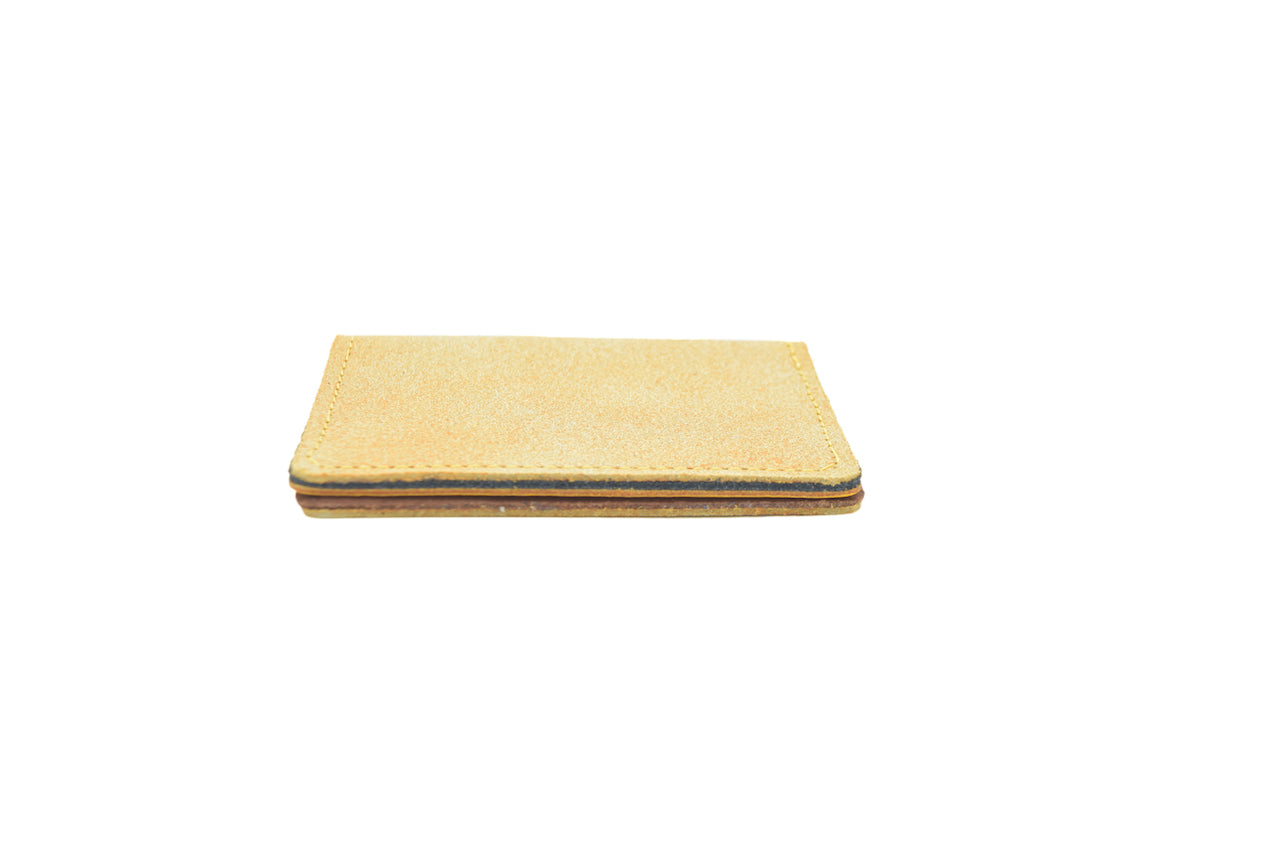 Pale Yellow Unisex Handmade Oyster Travel Card Holder Wallet ID in Leather, Cowhide, Nubuck and Suede