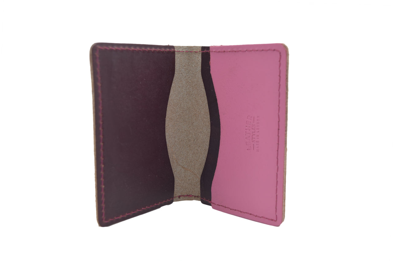 Patent Pink Unisex Handmade Oyster Travel Card Holder Wallet ID in Leather, Cowhide, Nubuck and Suede
