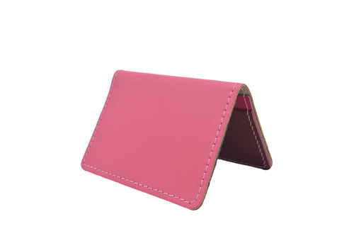 Pink Unisex Handmade Oyster Travel Card Holder Wallet ID in Leather, Cowhide, Nubuck and Suede