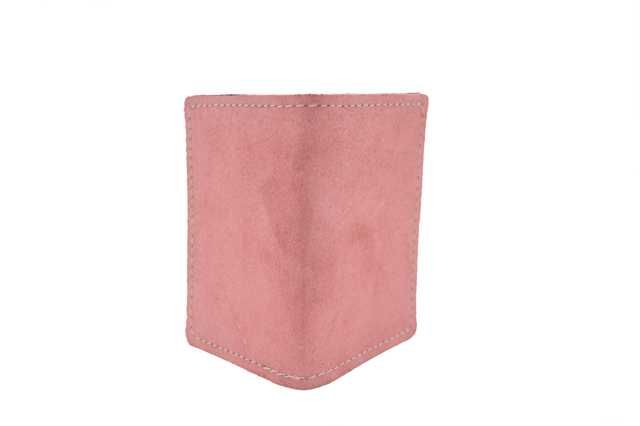 Suede Pink Unisex Handmade Oyster Travel Card Holder Wallet ID in Leather, Cowhide, Nubuck and Suede
