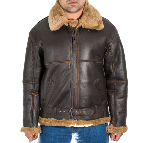Mens brown leather aviator B3 ginger shearling sheepskin WW2 RAF flying jacket.