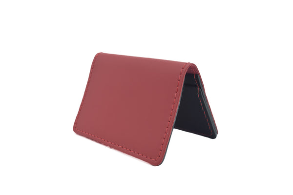 Red Unisex Handmade Oyster Travel Card Holder Wallet ID in Leather, Cowhide, Nubuck and Suede