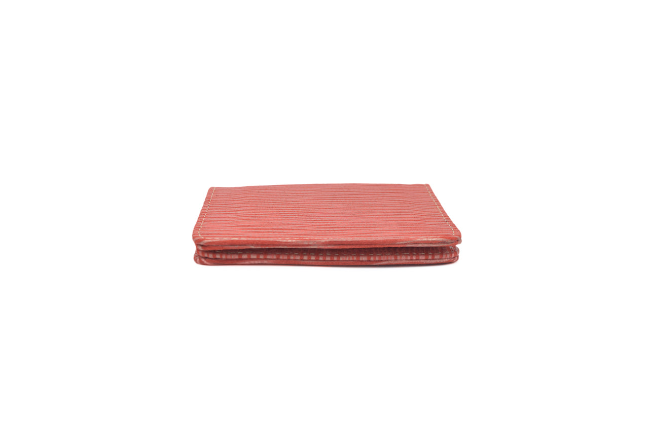 Red and Gold Unisex Handmade Oyster Travel Card Holder Wallet ID in Leather, Cowhide, Nubuck and Suede
