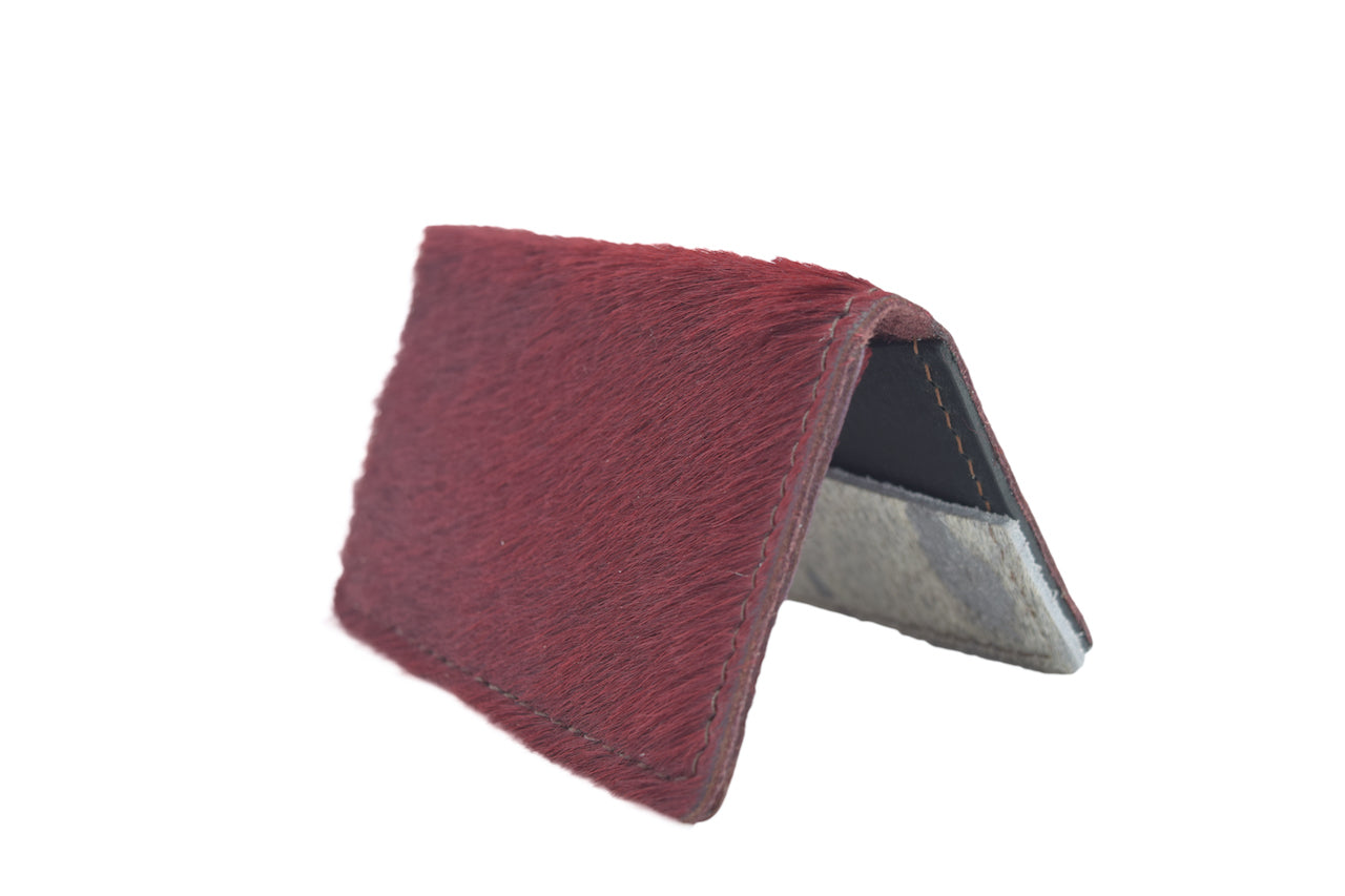 Red Cowhide Unisex Handmade Oyster Travel Card Holder Wallet ID in Leather, Cowhide, Nubuck and Suede