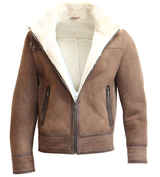 Mens Real Leather Brown/Taupe with Cream Double Faced Sheepskin Straight Zip Pilot Style Jacket