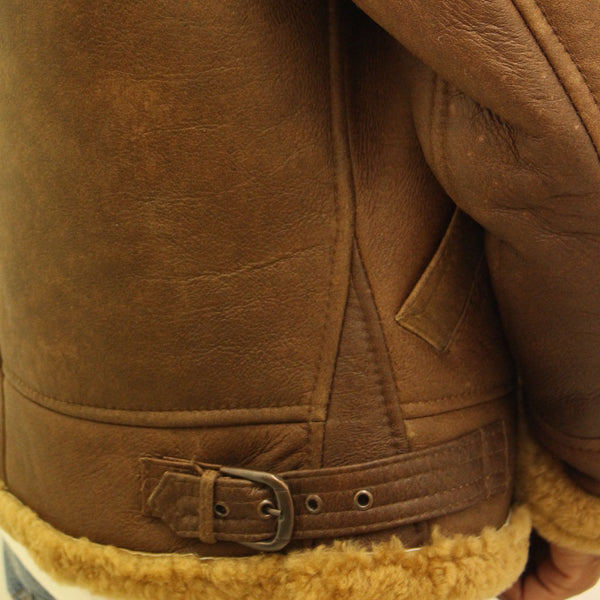 Mens camel brown aviator B3 pilot sheepskin jacket.