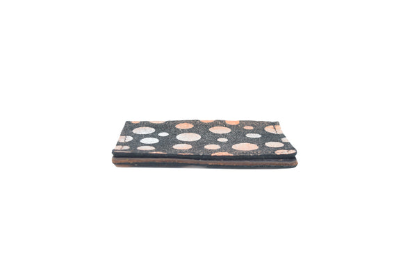 Rose Gold Polka Unisex Handmade Oyster Travel Card Holder Wallet ID in Leather, Cowhide, Nubuck and Suede