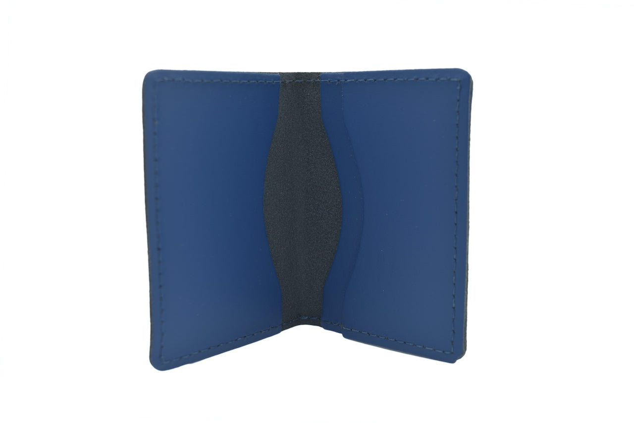 Just Royal Blue Unisex Handmade Oyster Travel Card Holder Wallet ID in Leather, Cowhide, Nubuck and Suede