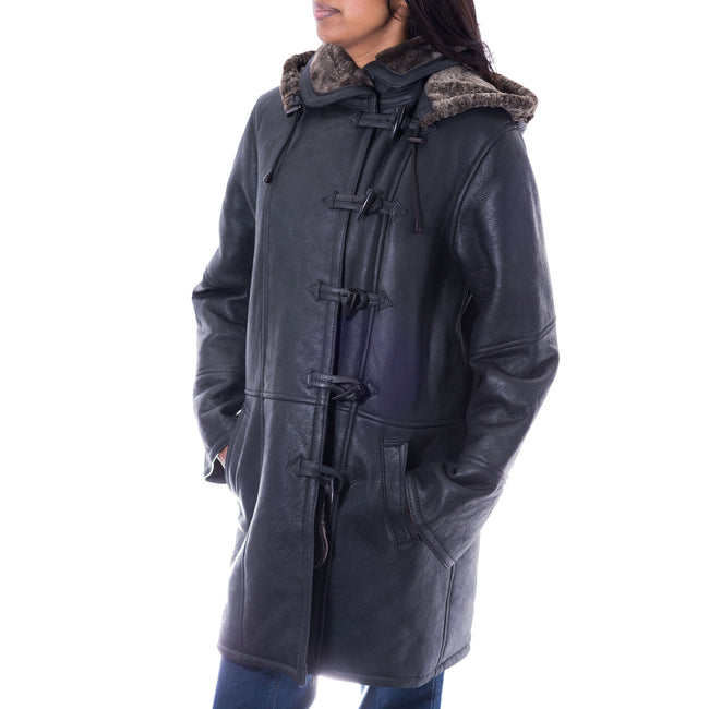 Womens 3/4 black shearling sheepskin duffle coat with toggle buttons
