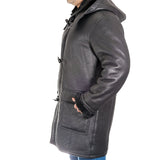 Mens luxurious shearling sheepskin duffle coat with detachable hood available in black and brown