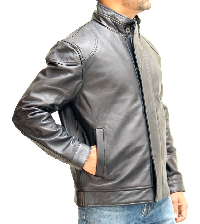 Mens Stylish Black Real Leather Coat with Funnel Collar