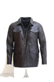 Mens real leather black safari style leather jacket with shirt collar